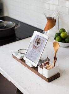 ipad on a white quartz kitchen counter top
